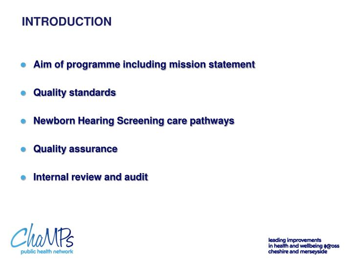 Aim of programme including mission statement