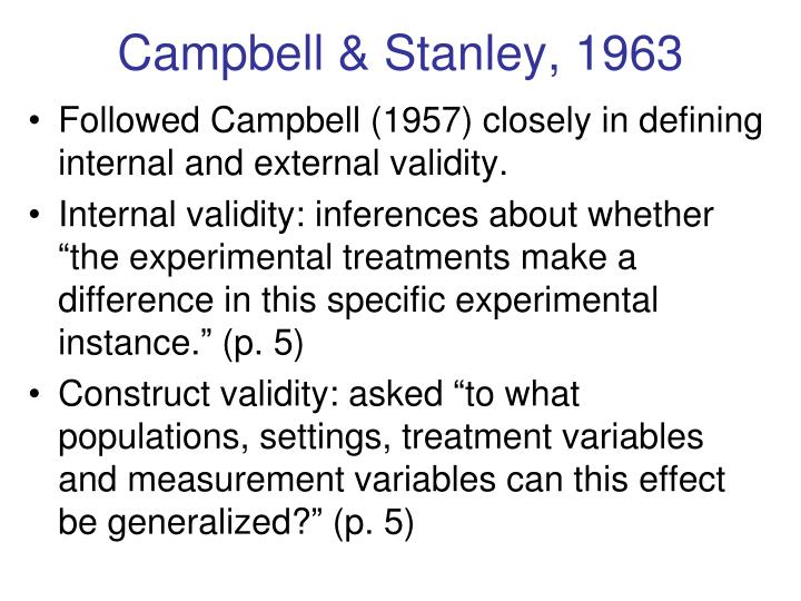 Campbell & Stanley, 1963