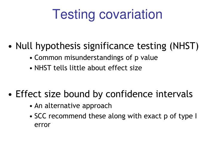 Testing covariation