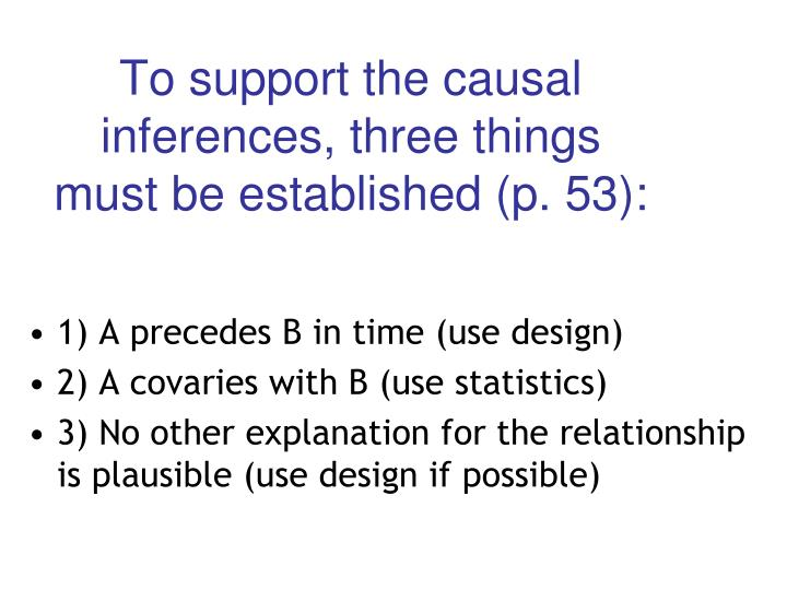 To support the causal inferences, three things must be established (p. 53):