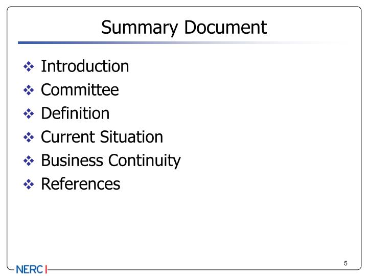Summary Document