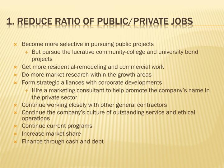 Become more selective in pursuing public projects