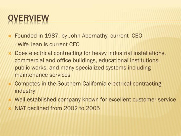 Founded in 1987, by John Abernathy, current  CEO