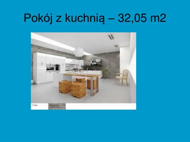 Pokój z kuchnią – 32,05 m2