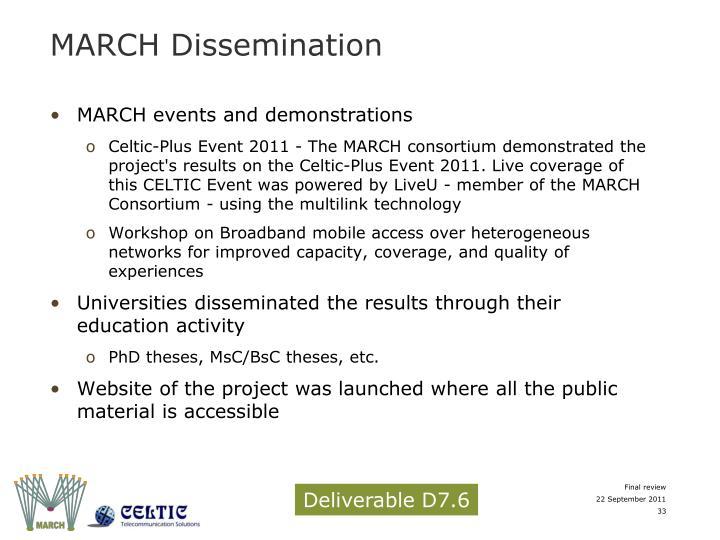 MARCH Dissemination