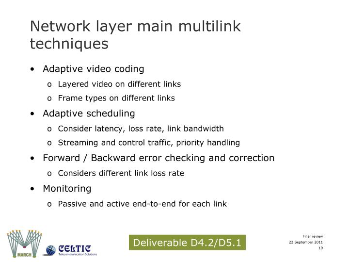 Network layer main multilink techniques