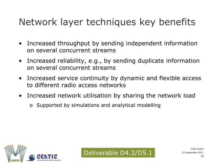 Network layer techniques key benefits