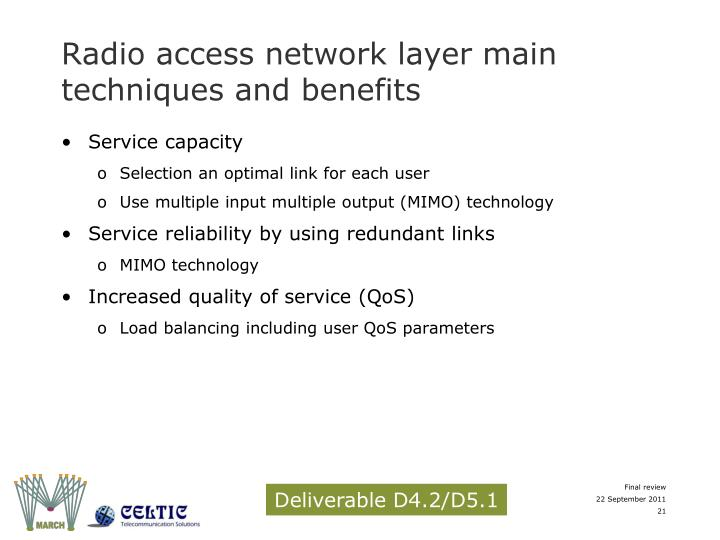 Radio access network layer main techniques and benefits