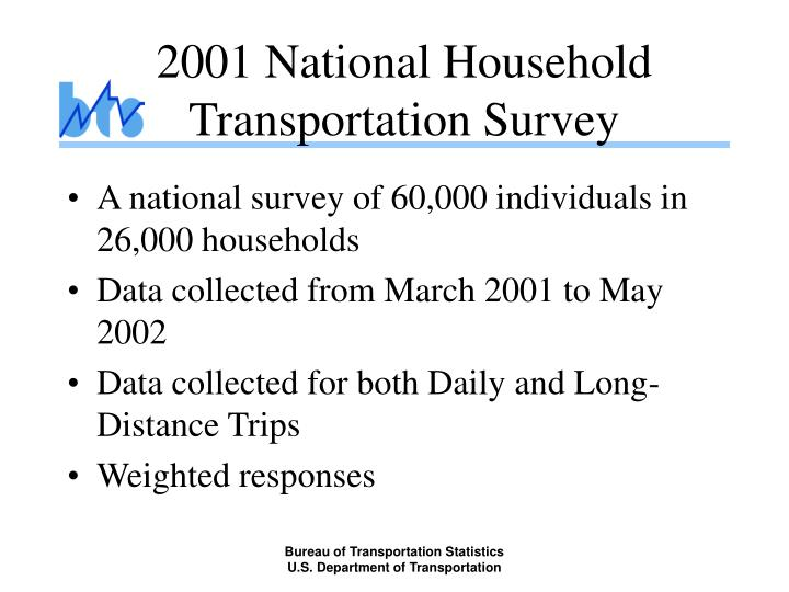 2001 national household transportation survey