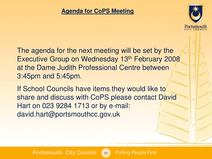 Agenda for CoPS Meeting