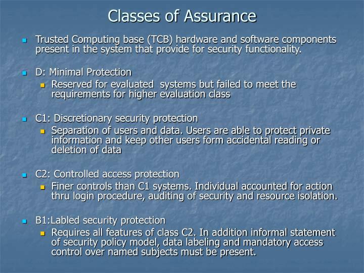 Classes of Assurance