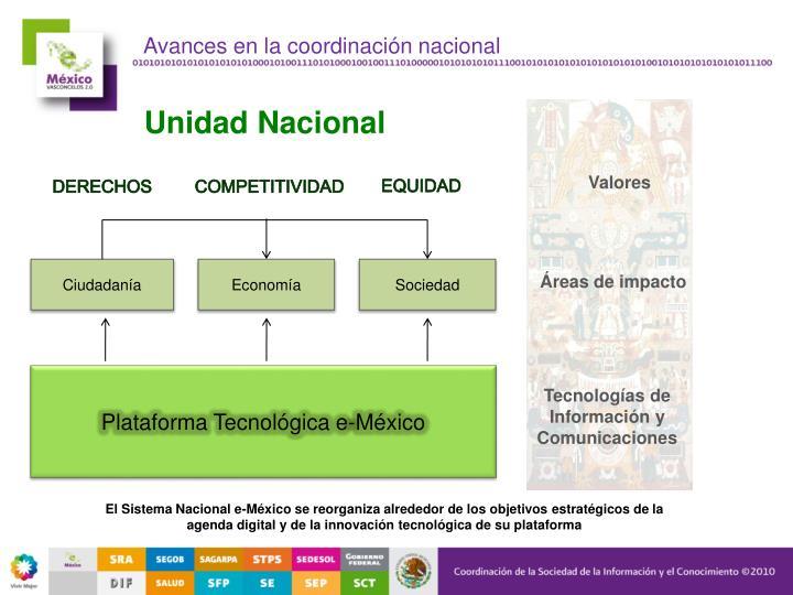 Avances en la coordinación nacional