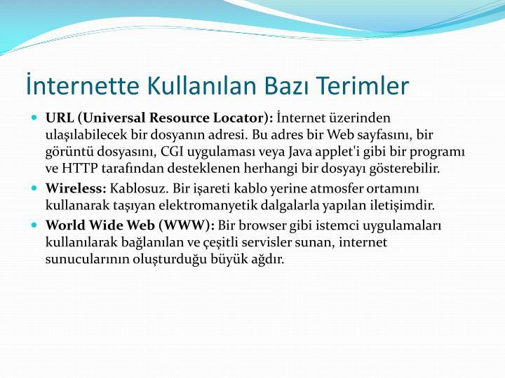 İnternette Kullanılan Bazı Terimler