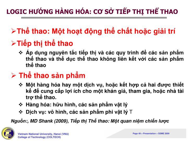LOGIC HƯỚNG HÀNG HÓA: CƠ SỞ TIẾP THỊ THỂ THAO