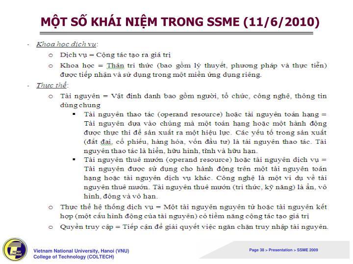 MỘT SỐ KHÁI NIỆM TRONG SSME (11/6/2010)