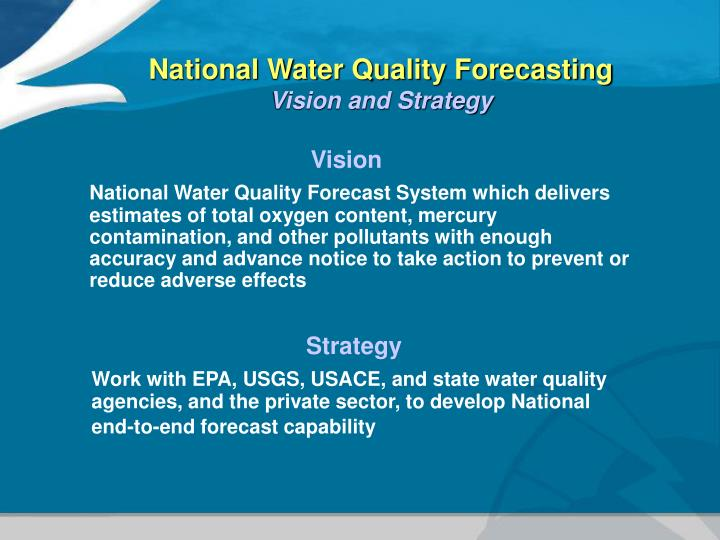 National Water Quality Forecasting