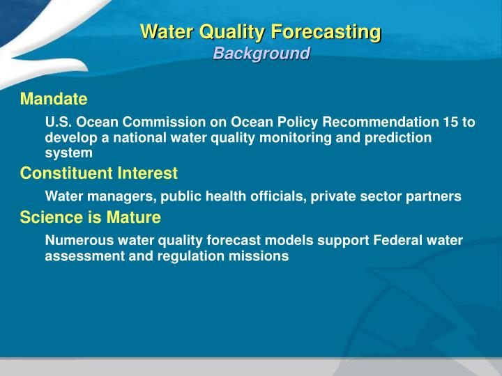 Water Quality Forecasting