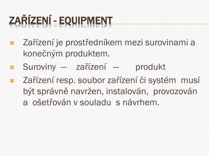 Zařízení je prostředníkem mezi surovinami a konečným produktem.