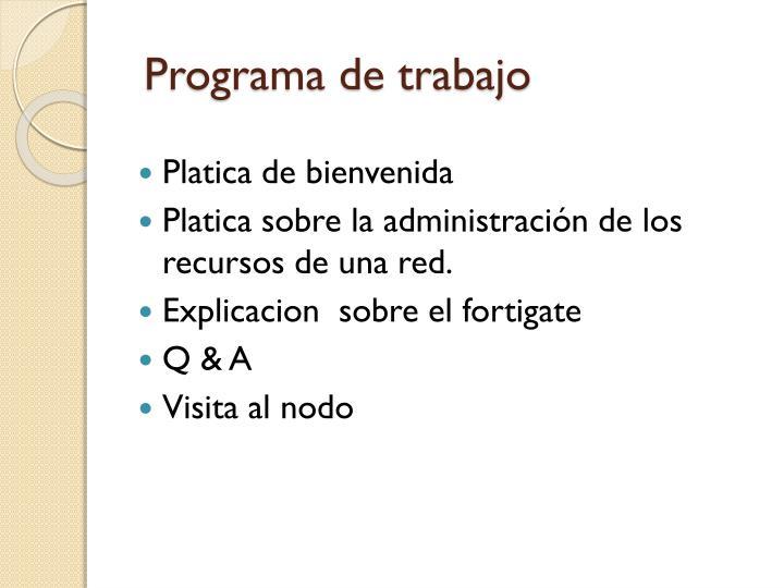 Programa de trabajo