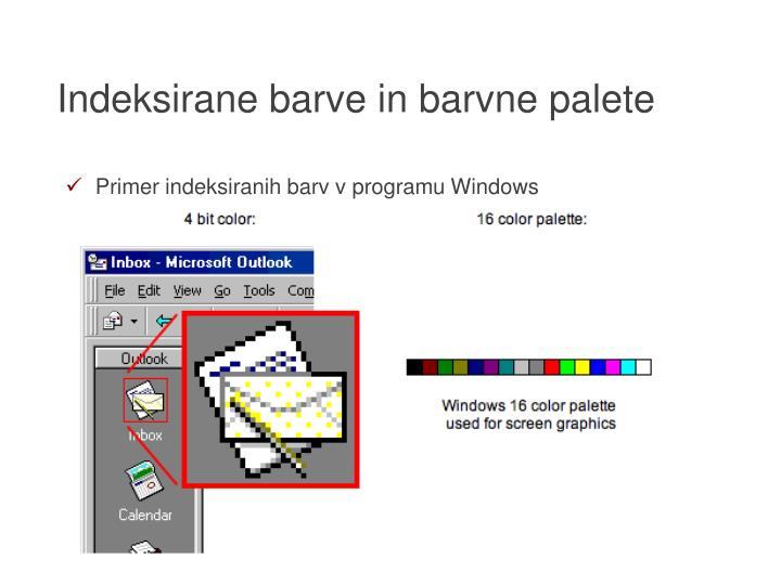 Indeksirane barve in barvne palete