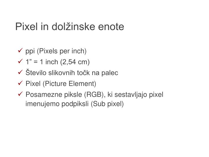Pixel in dolžinske enote