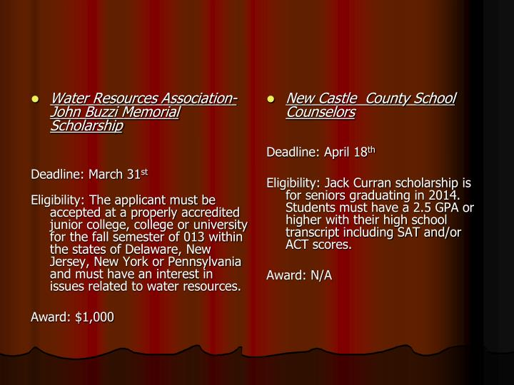 Water Resources Association-John Buzzi Memorial Scholarship