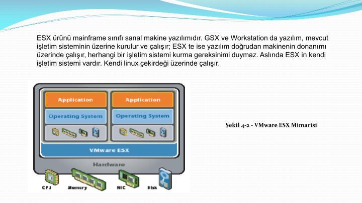 ESX ürünü mainframe sınıfı sanal makine yazılımıdır. GSX ve Workstation da yazılım, mevcut işletim sisteminin üzerine kurulur ve çalışır; ESX te ise yazılım doğrudan makinenin donanımı üzerinde çalışır, herhangi bir işletim sistemi kurma gereksinimi duymaz. Aslında ESX in kendi işletim sistemi vardır. Kendi linux çekirdeği üzerinde çalışır.