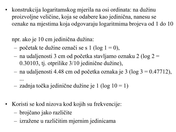 konstrukcija logaritamskog mjerila na osi ordinata: na dužinu proizvoljne veličine, koja se odabere kao jedinična, nanesu se oznake na mjestima koja odgovaraju logaritmima brojeva od 1 do 10