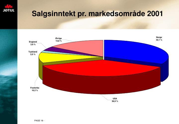 Salgsinntekt pr. markedsområde 2001