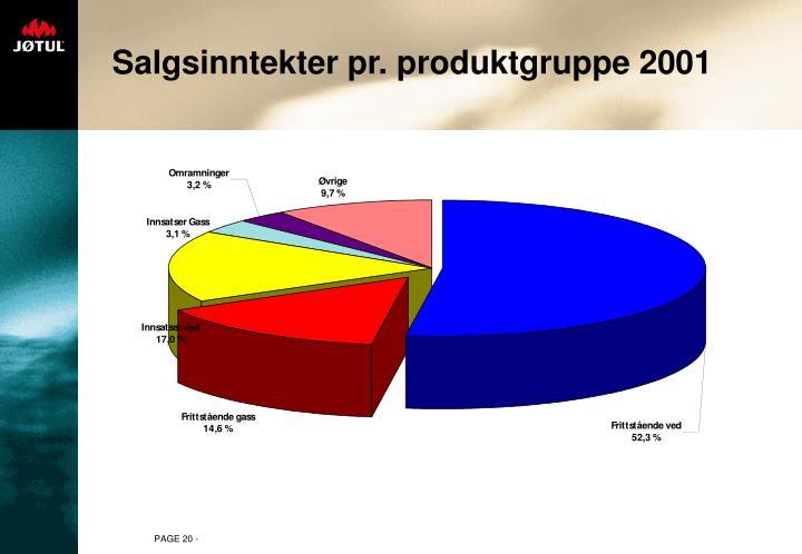 Salgsinntekter pr. produktgruppe 2001