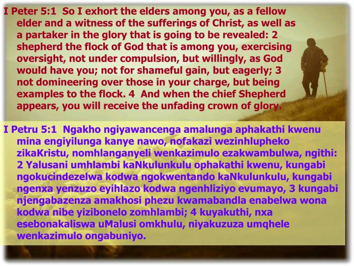 I Peter 5:1  So I exhort the elders among you, as a fellow elder and a witness of the sufferings of Christ, as well as a partaker in the glory that is going to be revealed: 2  shepherd the flock of God that is among you, exercising oversight, not under compulsion, but willingly, as God would have you; not for shameful gain, but eagerly; 3  not domineering over those in your charge, but being examples to the flock. 4  And when the chief Shepherd appears, you will receive the unfading crown of glory.