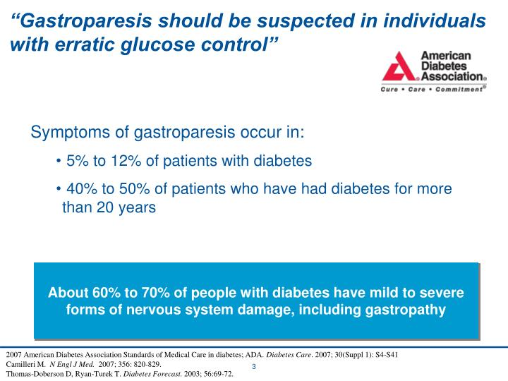 """Gastroparesis should be suspected in individuals with erratic glucose control"""