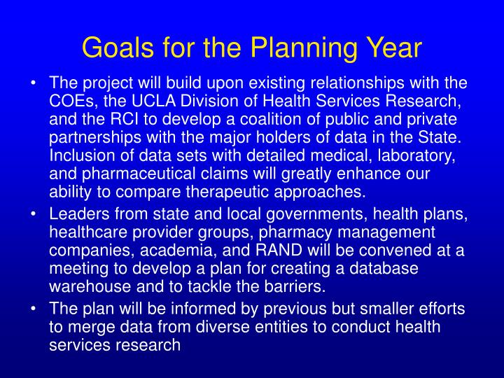 Goals for the Planning Year