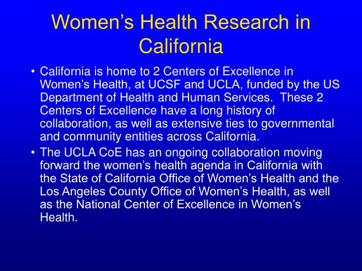 Women's Health Research in California