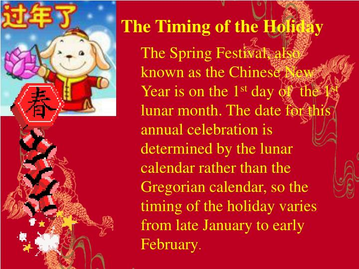 The Timing of the Holiday