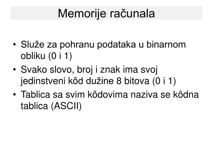 Memorije računala