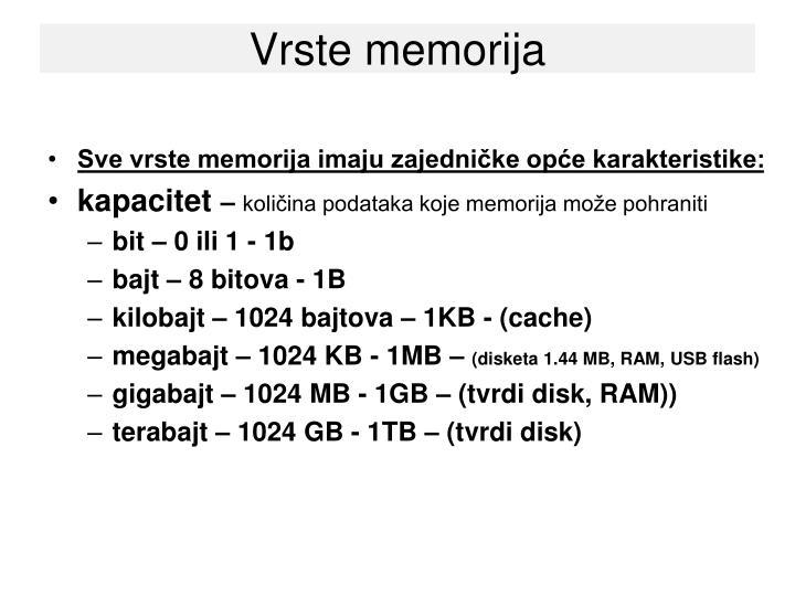 Vrste memorija