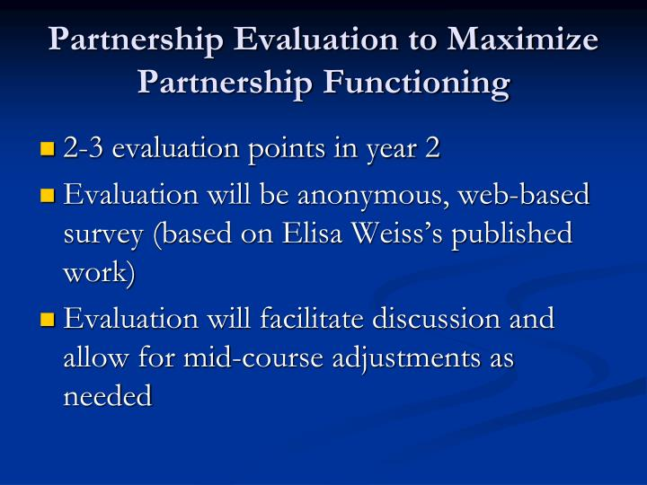 Partnership Evaluation to Maximize Partnership Functioning