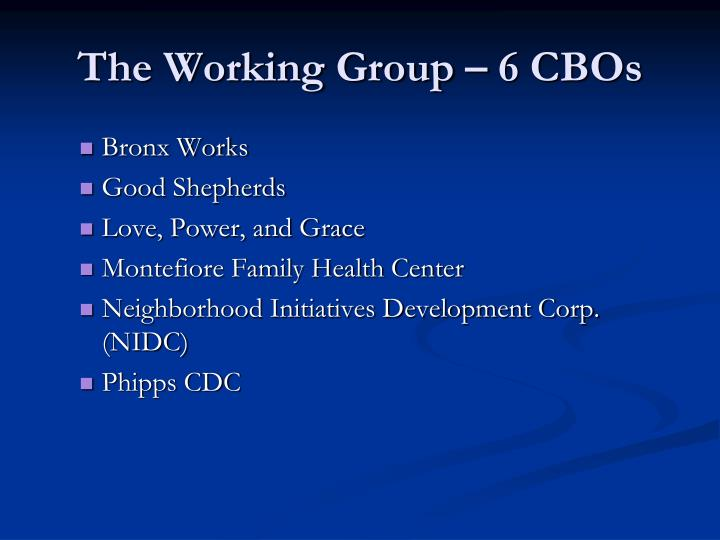 The Working Group – 6 CBOs
