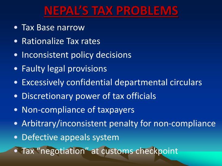 NEPAL'S TAX PROBLEMS