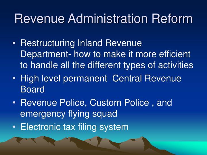 Revenue Administration Reform