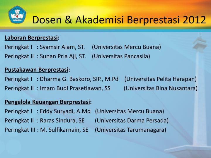 Dosen & Akademisi Berprestasi 2012