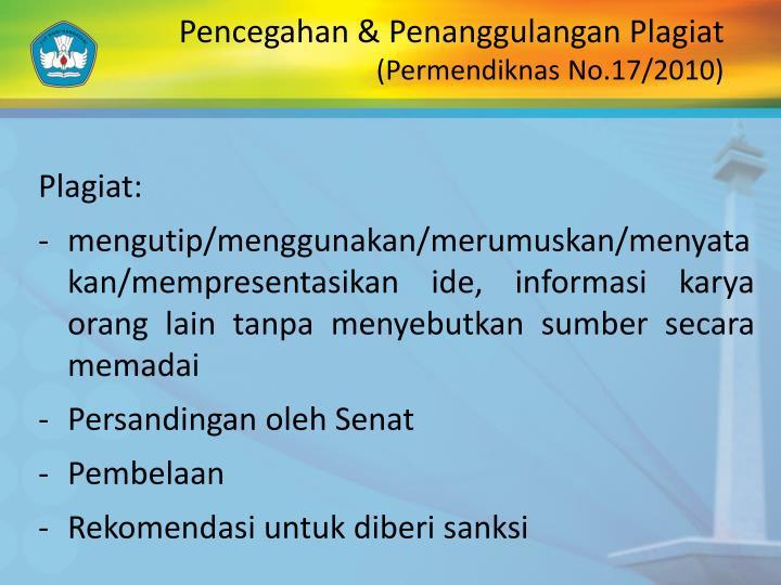 Pencegahan & Penanggulangan Plagiat
