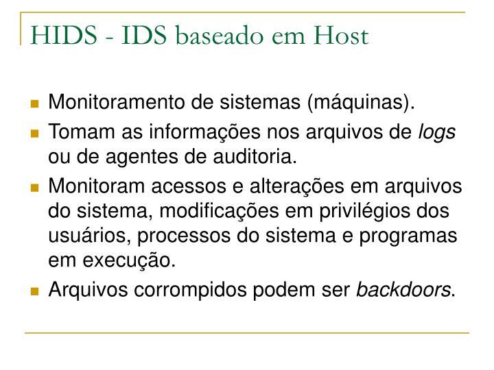 HIDS - IDS baseado em Host