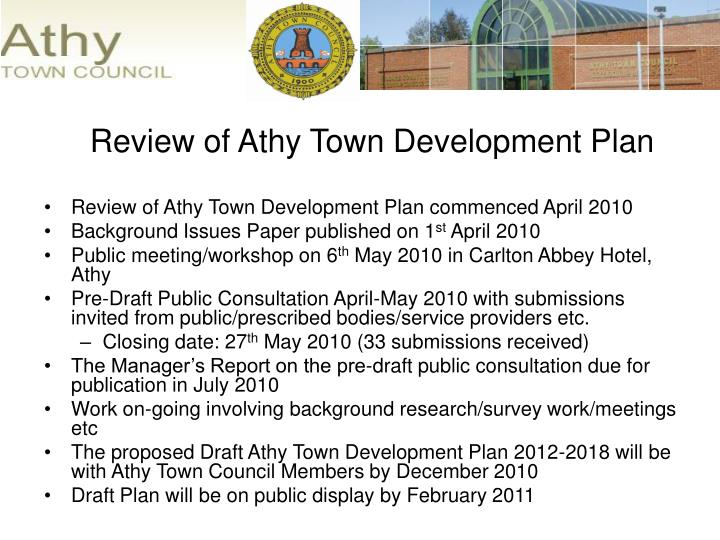 Review of Athy Town Development Plan commenced April 2010