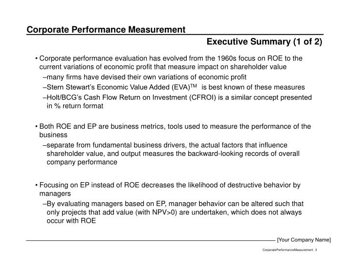 Executive Summary (1 of 2)