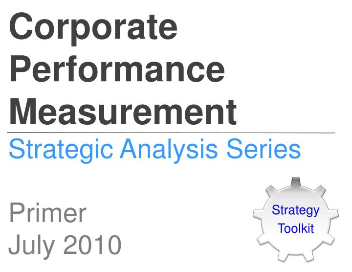 Corporate Performance Measurement