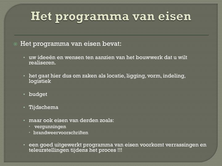 Het programma van eisen