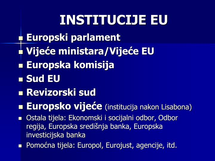 INSTITUCIJE EU