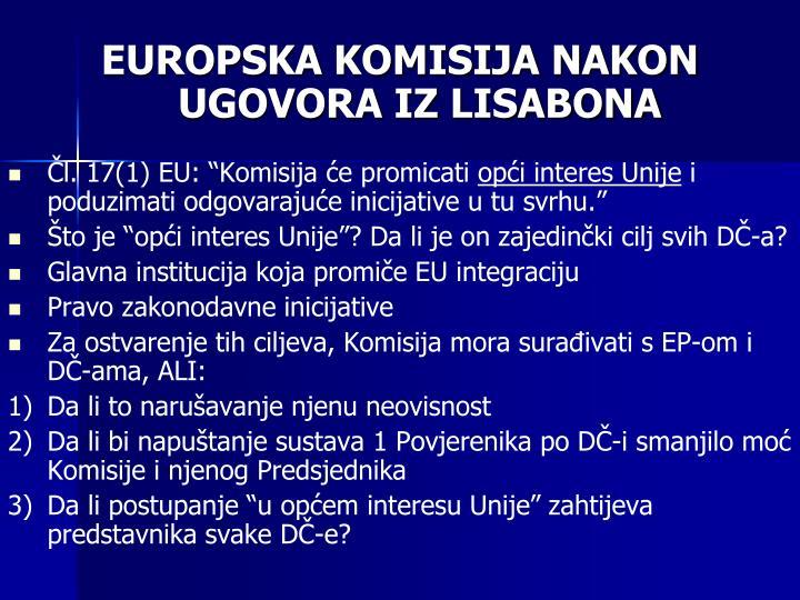 EUROPSKA KOMISIJA NAKON UGOVORA IZ LISABONA